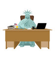 statue of liberty sitting in office american boss vector image vector image