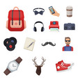 style hipster cartoon icons in set collection for vector image