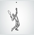 tennis player black outline creative vector image vector image