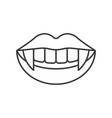 vampire teeth halloween related hollow outline vector image