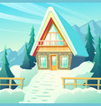 village house in winter mountains cartoon vector image