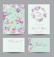 wedding invitation template with spring flowers