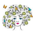woman with flowers and butterflies vector image vector image