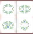 blue flowers set floral art ornamen vector image