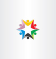colorful people teamwork star icon vector image