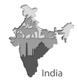 Cutout map of India with different leyers vector image