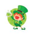 happy leprechaun holding beer vector image