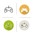 Gamepad flat design linear and color icons set vector image