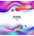 abstract 3d colorful fluid shape with halftone on vector image vector image