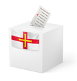 Ballot box with voting paper Guernsey vector image vector image