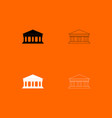 bank building black and white set icon vector image vector image