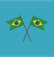brazil flag icon in flat design vector image vector image