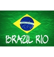 brazil flag over green background vector image vector image