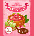 bright colorful tasty cakes poster vector image vector image