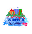 card winter sale and best offer present gift vector image vector image