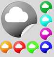 Cloud icon sign Set of eight multi-colored round