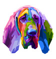 colorful bloodhound dog isolated on pop art style vector image vector image