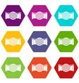 drain pipe icon set color hexahedron vector image vector image