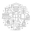 education outline icons set for interface print vector image vector image