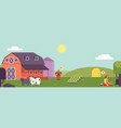 farm landscape horizontal banner or header with vector image