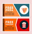 free pizza and popcorn coupon vector image