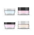 glossy glass cosmetic jar makeup product package vector image vector image