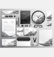 gray abstract business stationery items set vector image