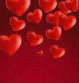 hearts in red background4 vector image
