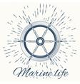 helm and vintage sun burst frame Marine life vector image vector image