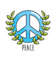 hippie emblem symbol of peace and love vector image vector image
