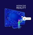 interactive reality computer and person vector image vector image