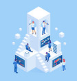 isometric business people analyzing a financial vector image vector image
