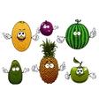 Juicy ripe cartoon fruit characters vector image