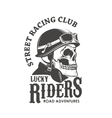 Lucky riders Street racing club Skull in racer vector image vector image