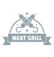 meat grill logo simple gray style vector image vector image