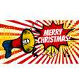 megaphone pop merry christmas winter vector image vector image