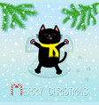 merry christmas black smiling cat laying on back vector image