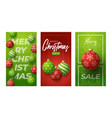 merry christmas vertical banner for stories red vector image vector image