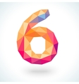 Number six in modern polygonal crystal style vector image