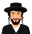 orthodox jewish man portrait with hat in a black vector image