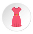 pink dress icon circle vector image