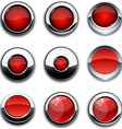 Red round buttons with chrome borders vector image vector image