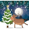 reindeer and tree snow landscape night with snow vector image vector image