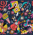 rock n roll doodle seamless pattern vector image