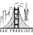 san francisco skyline grunge design template vector image vector image