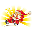 santa claus on scooter vector image vector image