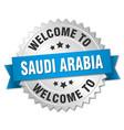 saudi arabia 3d silver badge with blue ribbon vector image vector image