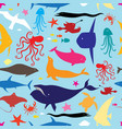 seamless multicolored marine pattern vector image vector image