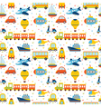 Seamless pattern with colorful cartoon transport vector image vector image