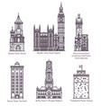 set isolated famous castle with landmark towers vector image vector image